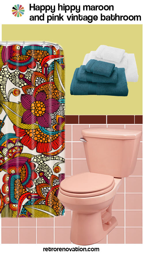 vintage maroon and pink bathroom