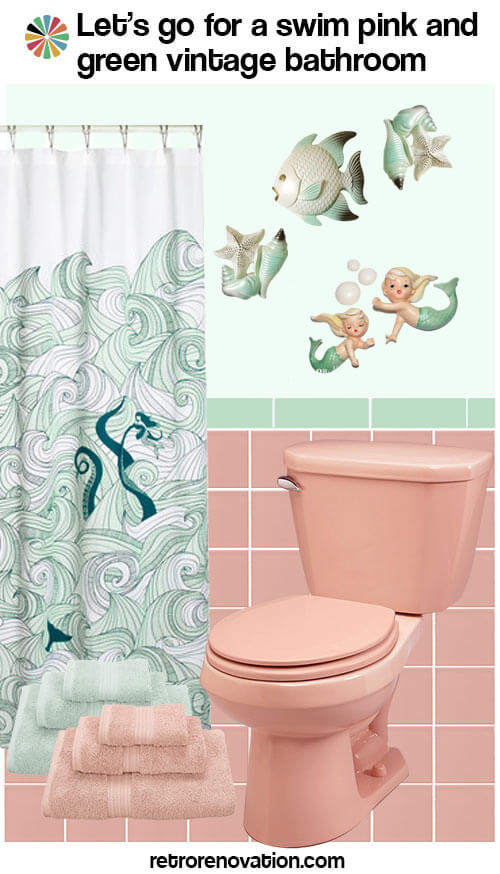 green fish mermaid bathroom