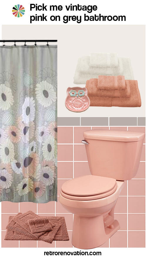 12 ideas to decorate a pink and gray vintage bathroom for Red and gray bathroom sets