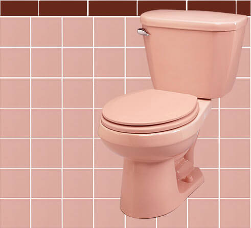 11 ideas to decorate a burgundy and pink bathroom retro for Pink grey bathroom accessories