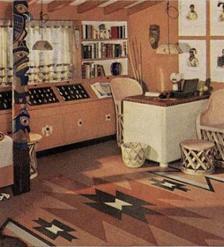 21 early 1940s interior designs by hazel del brown of for Native american furniture designs