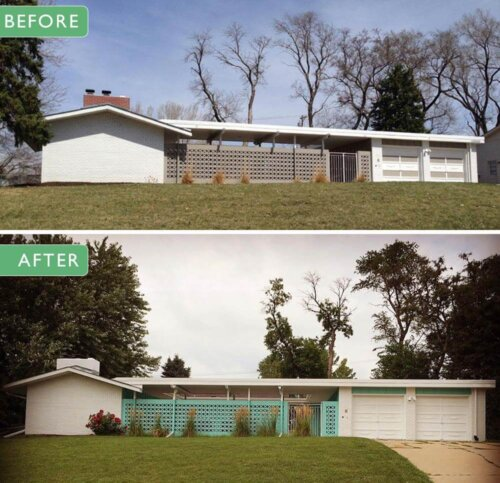 alesha restores the original 1961 exterior paint colors on her midcentury modern