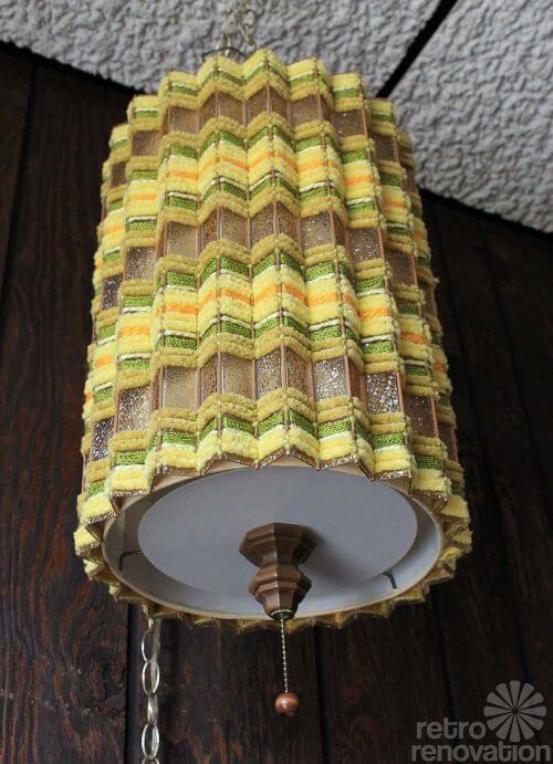 vintage swag lamp woven retro