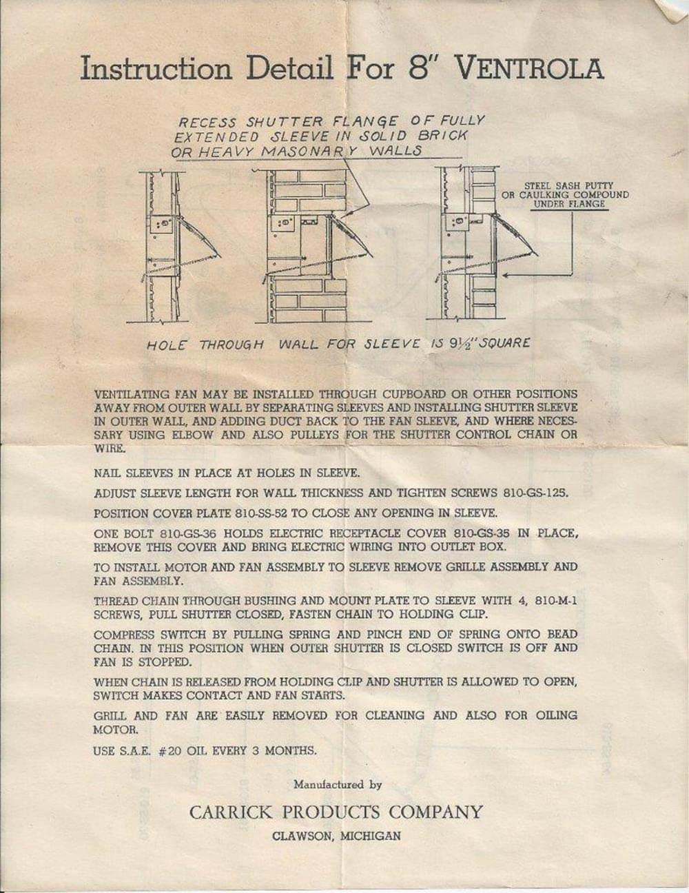 Vintage NOS Ventrola Kitchen Exhaust Fan ...
