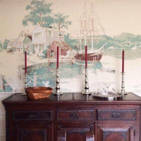 wallpaper mural nautical scene