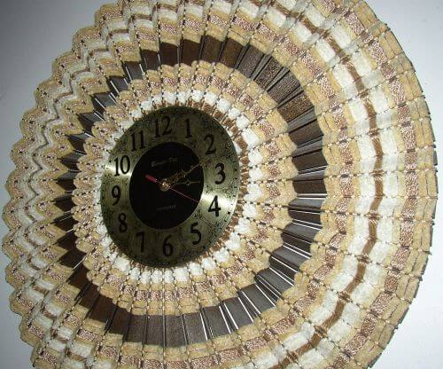 retro woven wood sunburst clock