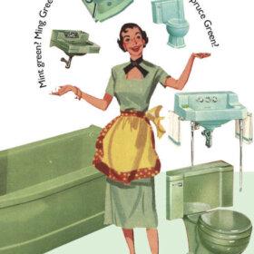 vintage green bathroom fixtures