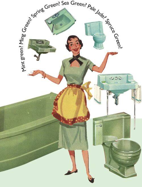 vintage green bathroom fixtures