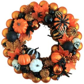 Halloween wreath made from orange and black ornaments