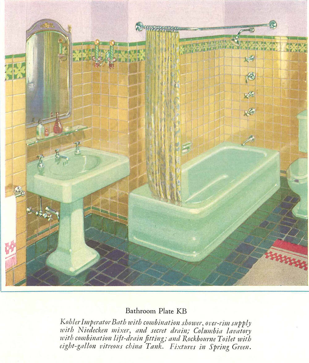 The color green in kitchen and bathroom sinks tubs and for Spring bathrooms