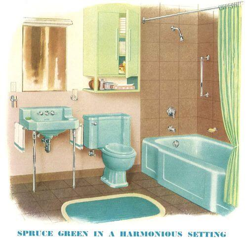 vintage spruce green bathroom