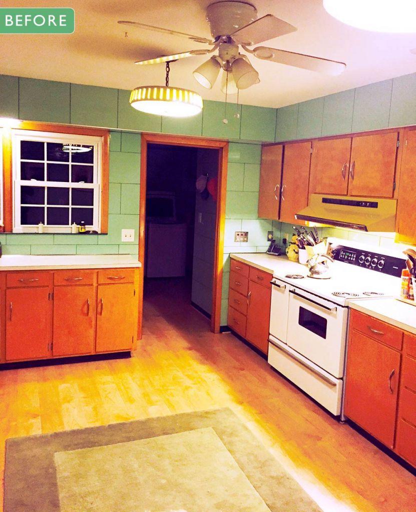 mid century kitchen before