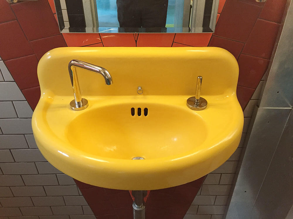 Bathroom Sink Yellow thomas creates a genius retro modern eclectic office / guest house