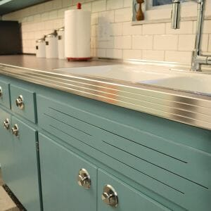 ribbed metal counter edge in a retro kitchen