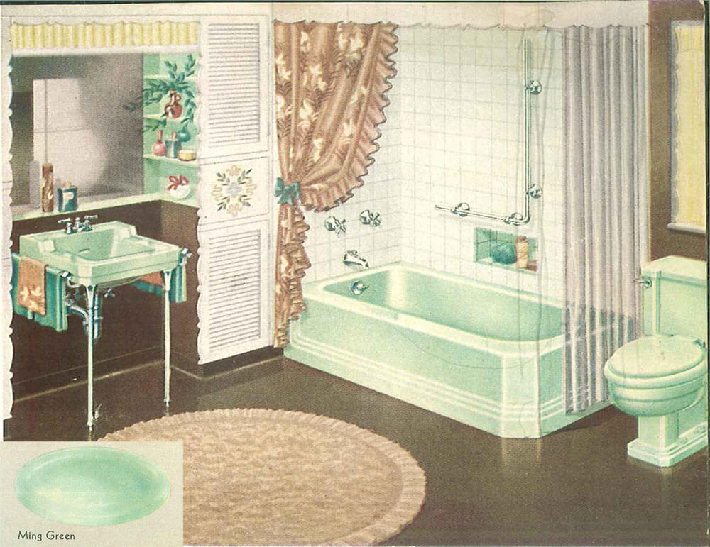 the color green in kitchen and bathroom sinks, tubs and toilets