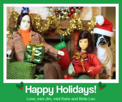 retro dollhouse christmas card