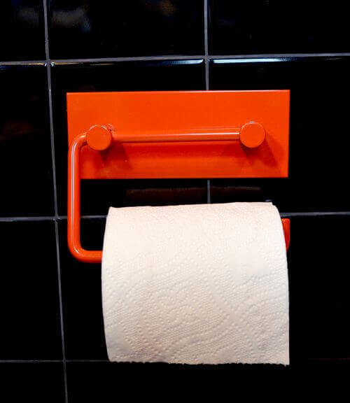 red toilet paper holder