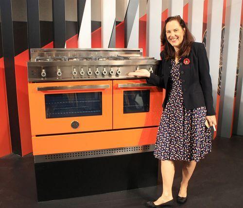 modern orange stove