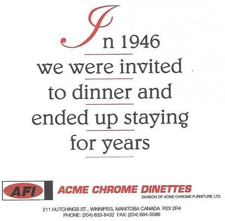 acme chrome dinettes