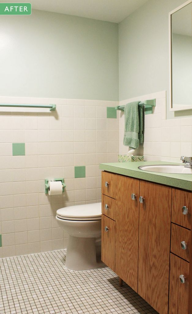 1960s green bathroom remodel after photo