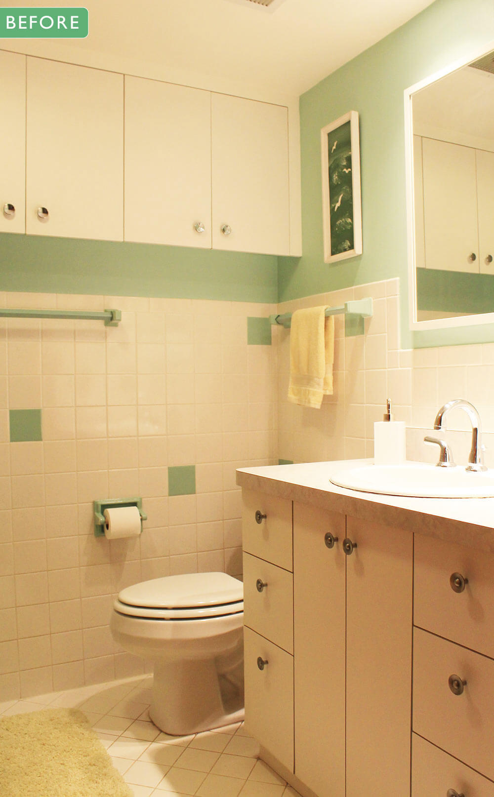 kate's 1960s green bathroom remodel 'lite' - before and after