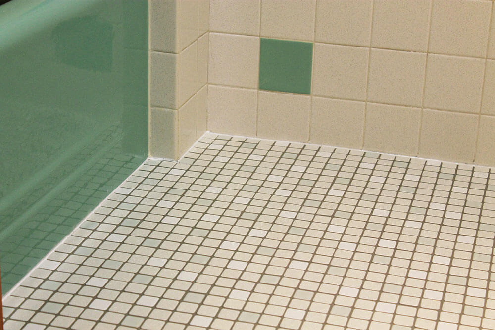 Kate 39 s 1960s green bathroom remodel 39 lite 39 before and for 1960s floor tiles