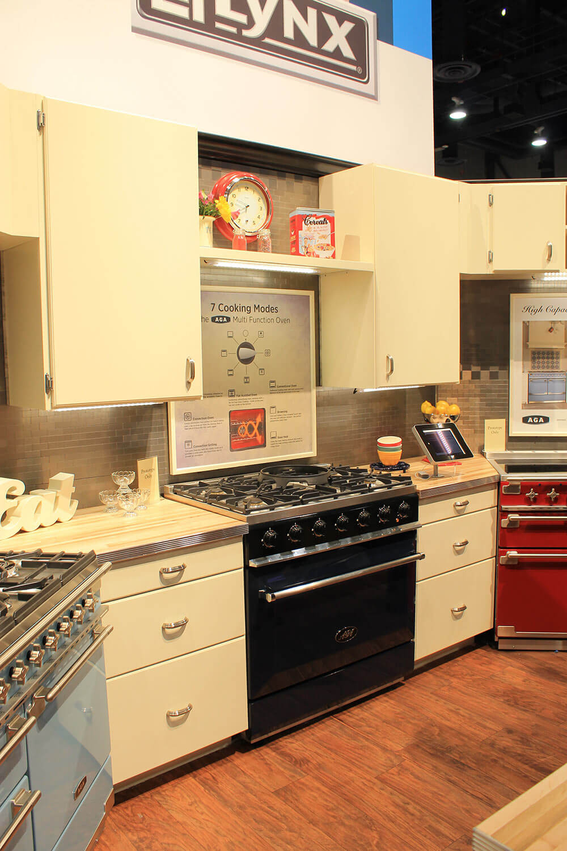 retro kitchen setup aga aga falcon and elise designs aga colorful ranges and a retro kitchen at kbis   retro renovation  rh   retrorenovation com