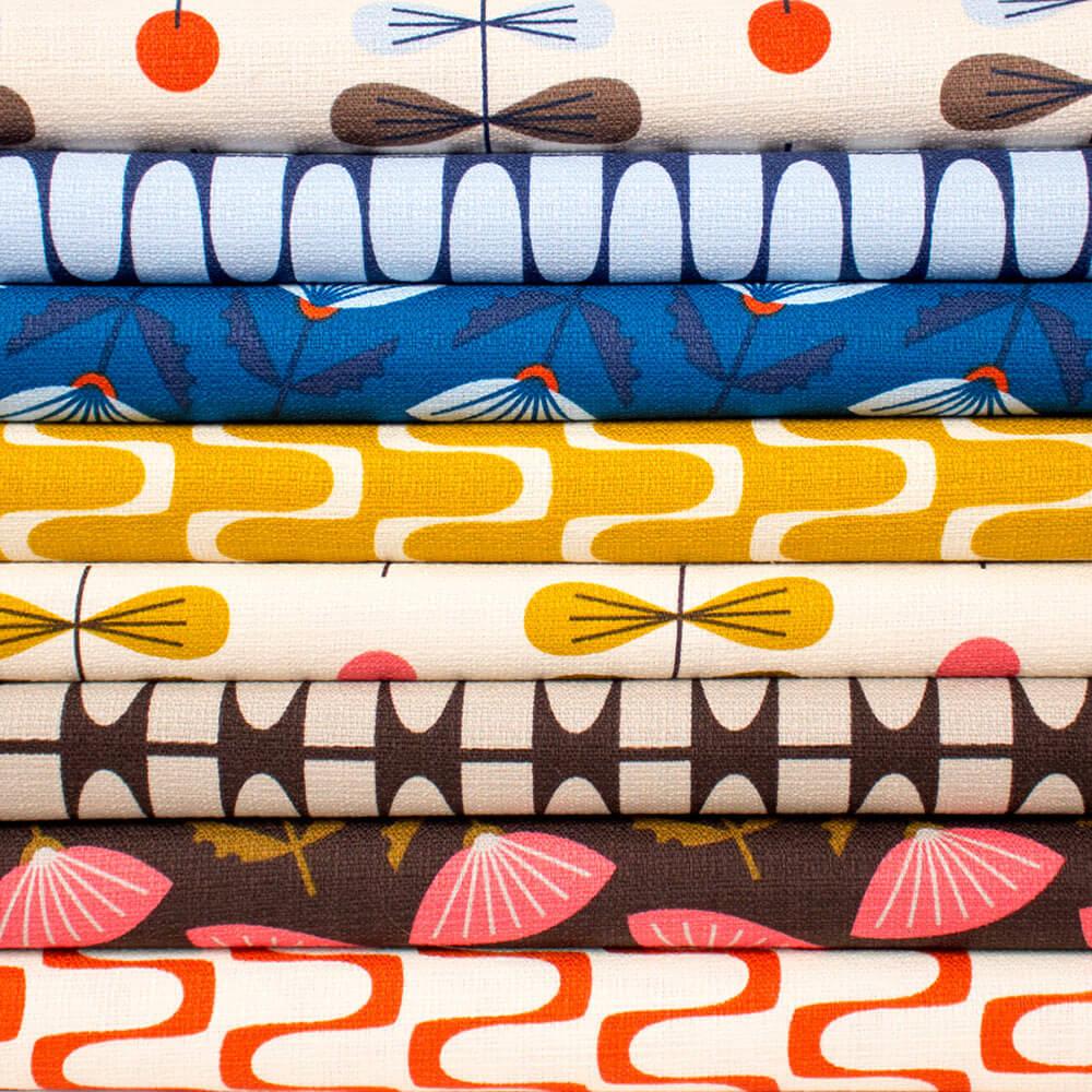 4 new retro barkcloth designs from jessica jones and cloud for Retro fabric