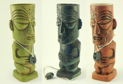 three colors of tiki mug