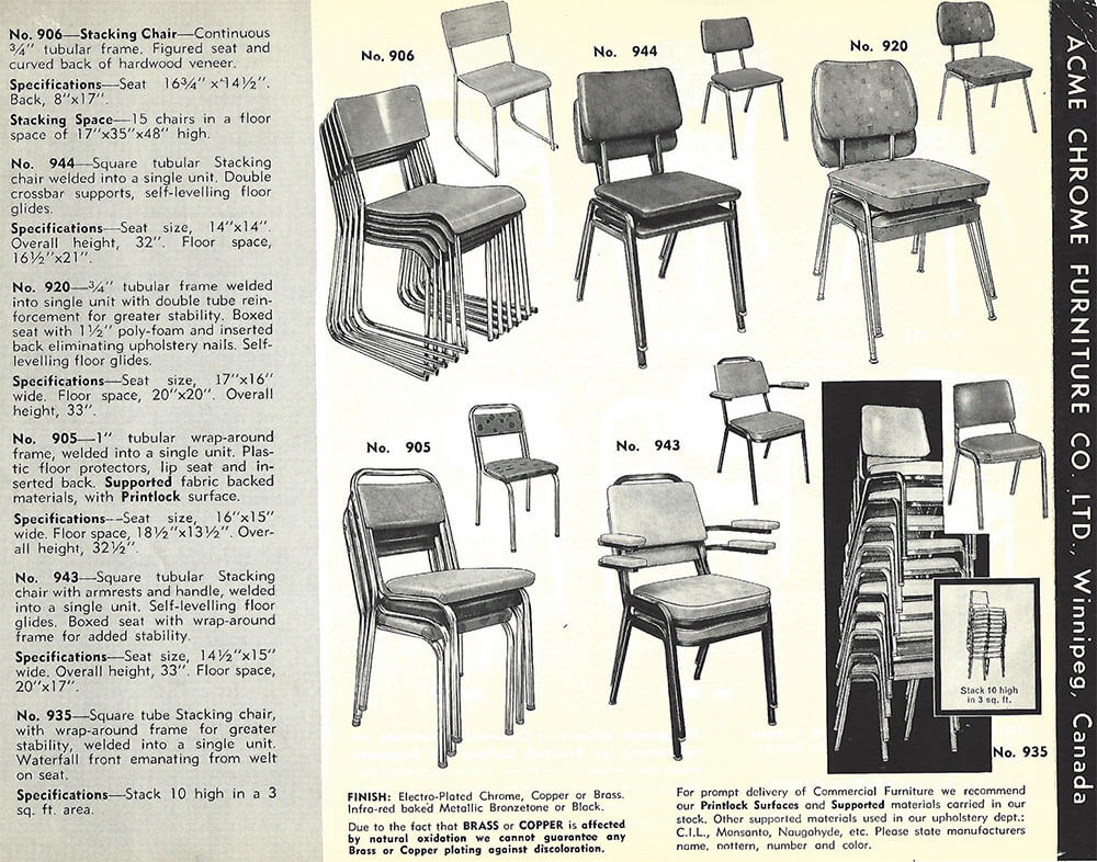 Chrome Dinette Chairs still in production after nearly 70 years: acme chrome dinettes