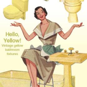 vintage yellow bathrooms