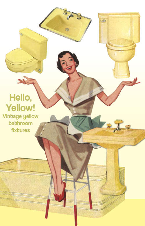 vintage yellow bathrooms
