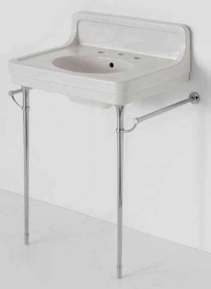 Elegant Retro bathroom sinks on chrome legs Alden from Waterworks Retro Renovation