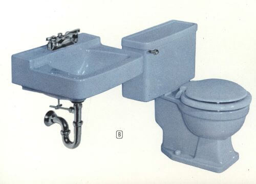 vintage blue bathroom fixtures
