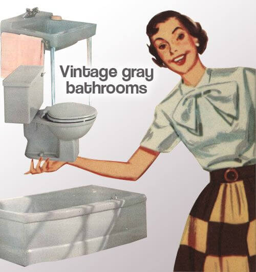 vintage gray bathrooms