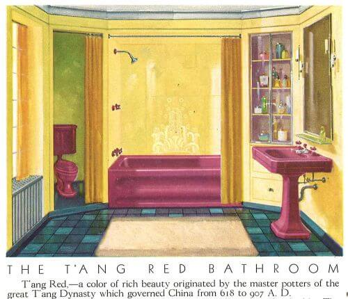 vintage burgundy bathroom