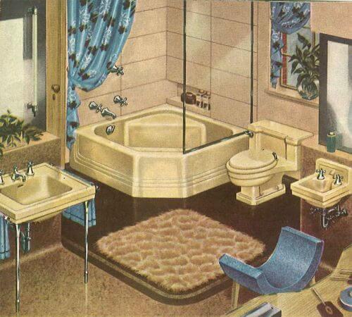 vintage ivory yellow bathroom