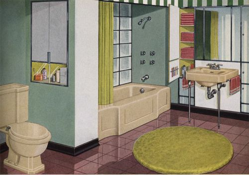 vintage beige bathroom