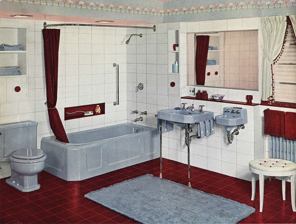 Vintage blue bathroom colors from seven manufacturers from for Vintage bathroom photos