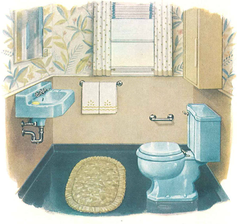 Kohler Colors 1950s Vintage Blue Bathroom