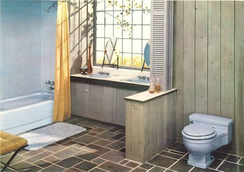 vintage blue bathroom