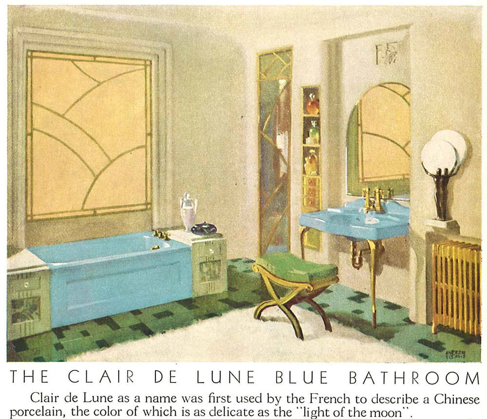 Vintage blue bathroom colors from seven manufacturers from 1927 to ...
