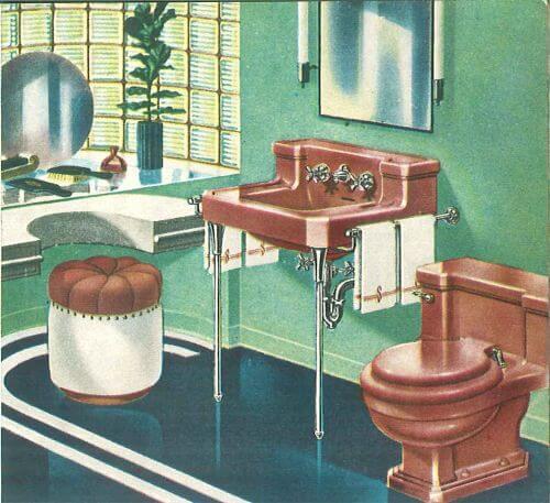 vintage 1950s maroon bathroom
