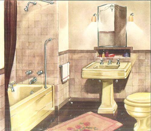 vintage yellow bathroom