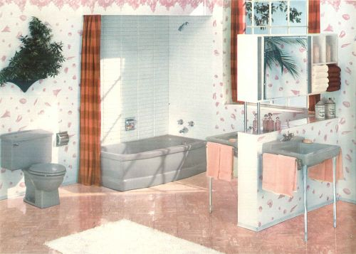 The color gray in vintage bathrooms from 1927 to 1962 for Vintage bathroom photos