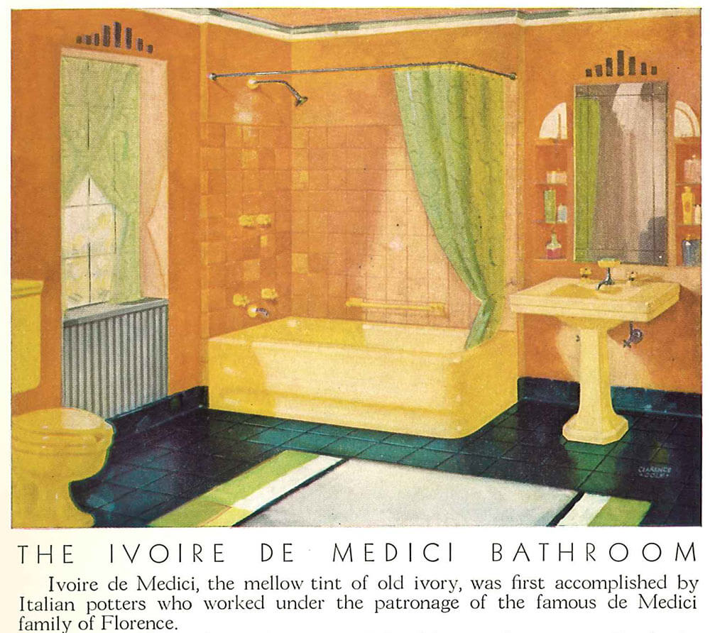 vintage yellow bathroom ...
