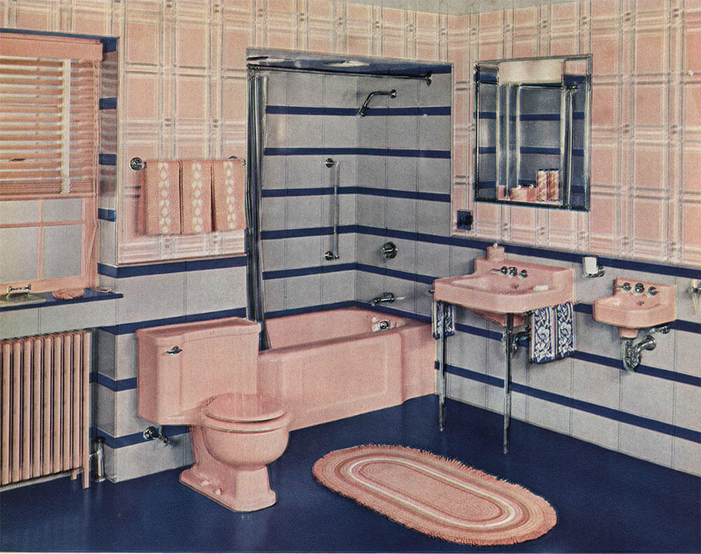 The color pink in bathroom sinks, tubs and toilets - from 1927-1962 ...
