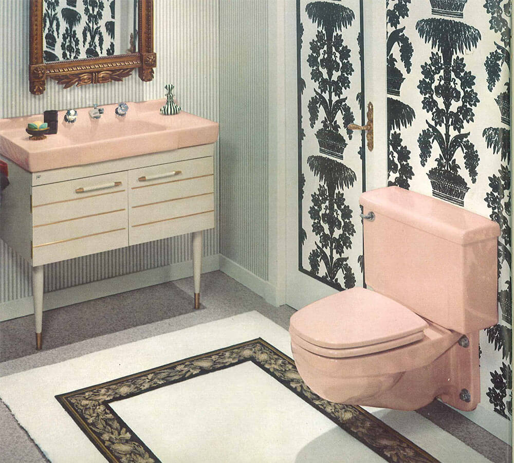 the color pink in bathroom sinks, tubs and toilets - from 1927