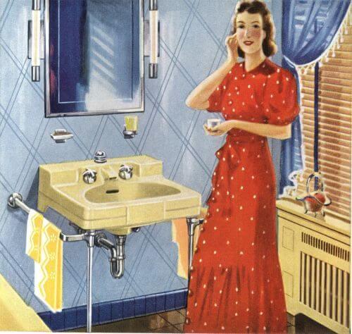 vintage yellow sink