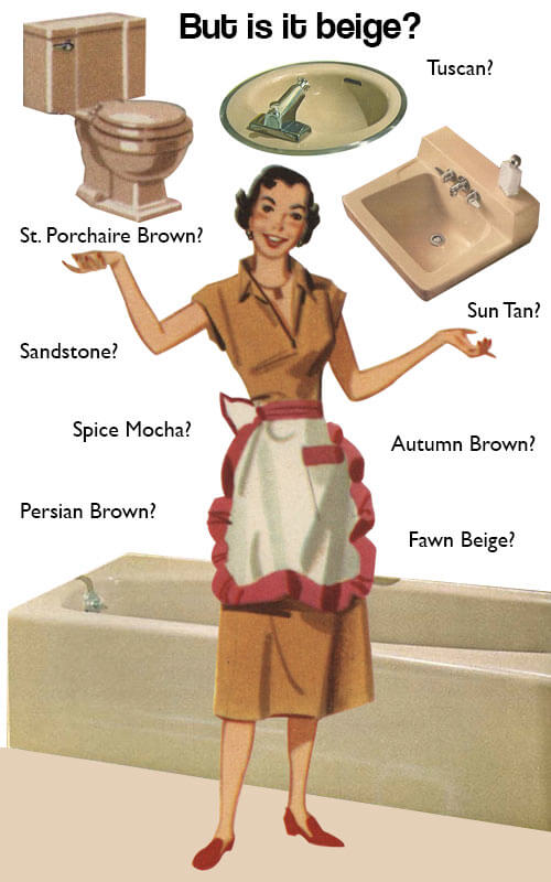 beige bathroom vintage